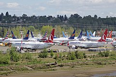 Boeing 737 MAX grounded aircraft near Boeing Field, April 2019.jpg