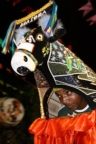 """Bumba Meu Boi - """"Miolo do boi"""", man responsible for the evolutions and choreography of the ox, in Maranhão. This is the miolo of Boi da Maioba (Ox of Maioba)"""