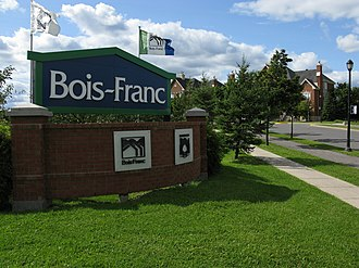 Bois-Franc - An entrance of the Bois-Franc neighbourhood on Alexis-Nihon boulevard.