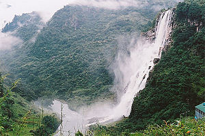 Forestry in India - Arunachal Pradesh has the 2nd largest forest cover in India, and its largest primary forest cover. Above is Nuranang Falls on the way to Tawang