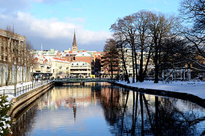 Borås - Borås and the river Viskan in winter.