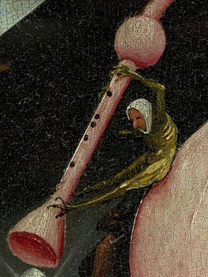 Bosch, Hieronymus - The Garden of Earthly Delights, right panel - Detail Bagpipe left (disk of tree man).jpg