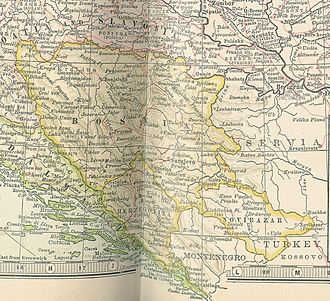 Austro-Hungarian campaign in Bosnia and Herzegovina in 1878 - Bosnia, Herzegovina and Novi Pazar on a map from 1904