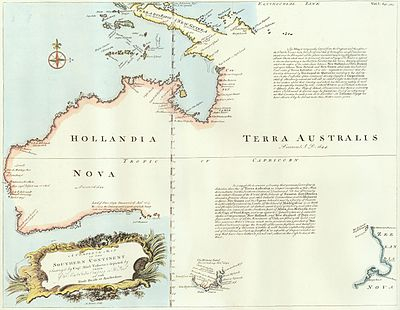 1744 Chart of Hollandia Nova - Terra Australis by Emanuel Bowen. Bowen- A Complete map of the Southern Continent.jpg