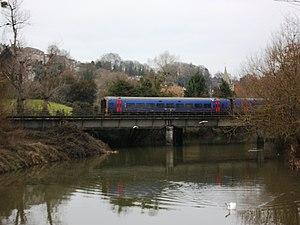 Wilts, Somerset and Weymouth Railway - A modern train at Bradford on Avon