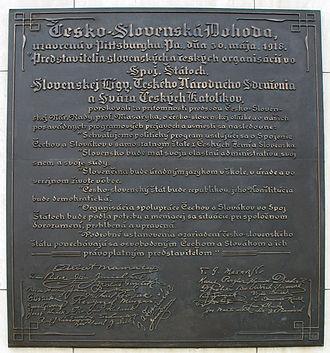 Czechoslovakism - Pittsburg Agreement plaque