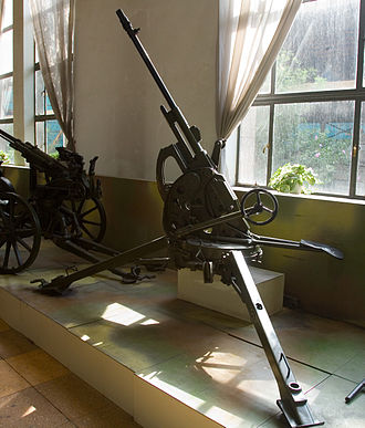 Breda Model 35 - A 20/65 Breda anti-aircraft gun in Beijing. This example does not have the predictor sight mounted or the muzzle booster fitted on many other examples.