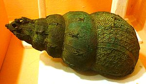 Archaeology of Igbo-Ukwu - Image: Bronze ceremonial vessel in form of a snail shell, 9th century, Igbo Ukwu, Nigeria