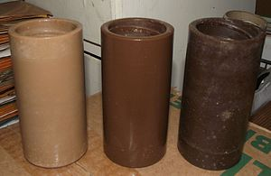 Phonograph cylinder - Brown wax cylinders showing various shades (and mold damage)