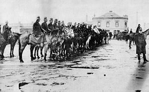 Victoria Police - Mounted police outside the Sarah Sands Hotel in Brunswick awaiting a march by the unemployed in 1893.