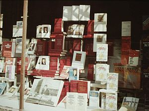 Nicolae Ceaușescu's cult of personality - A Bucharest bookstore window, showcasing Ceaușescu's work, c. 1986