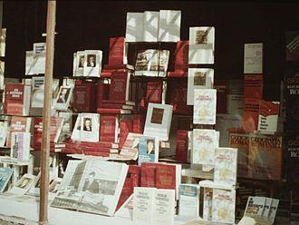 Nicolae Ceaușescu's cult of personality - A Bucharest bookstore window, showcasing Ceaușescu's work, c. 1986