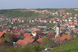 View of the church in Bukovac from a hill