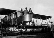 "Russian Aviators Sikorsky, Genner and Kaulbars aboard airplane ""Russian Vityaz""; 1915"