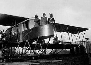 "Igor Sikorsky - Russian aviators Sikorsky, Genner and Kaulbars aboard a ""Russky Vityaz"", c. 1913"
