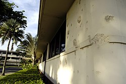 Bullet holes at headquarters building of Hickam Air Force Base.jpg