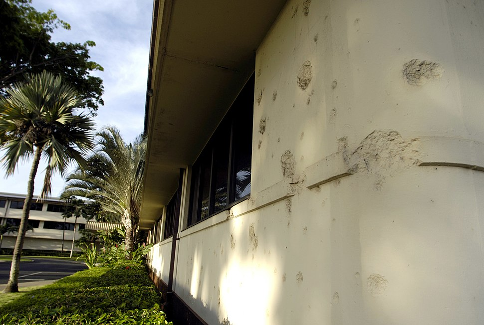 Bullet holes at headquarters building of Hickam Air Force Base