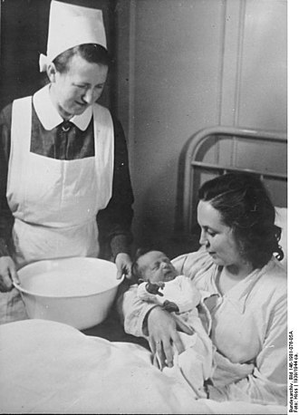 Nurse's cap - The German nurse in this photo wears a heavily starched nurse's cap. 1939.