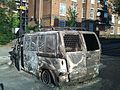 Burnt out van, Hackney riots 2011.jpg