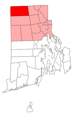 Location of Burrillville in Providence County, Rhode Island