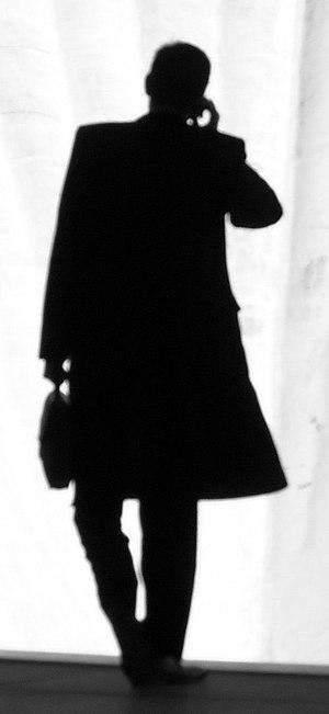 A businessman's silhouette.