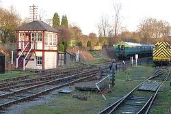 Butterley railway station, Derbyshire, England -signal box-19Jan2014 (3).jpg