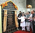 C.P. Joshi unveiling the plaque to lay the foundation stone of 8.45 Km. long tunnel between Quazigund and Banihal on Jammu-Srinagar National Highway, in Jammu & Kashmir. The Union Minister for New and Renewable Energy.jpg