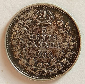 Nickel (Canadian coin) - Image: CANADA, EDWARD VII 1906 5 CENTS a Flickr woody 1778a
