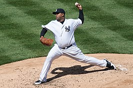 Sabathia als pitcher voor de New York Yankees op 16 april 2009