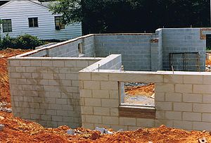 Masonry - Concrete masonry units (CMUs) or blocks in a basement wall before burial.