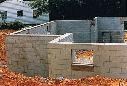 Concrete block wall image