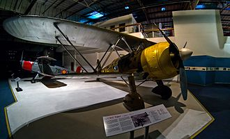 Royal Air Force Museum London - CR 42 Falco at the Battle of Britain hall