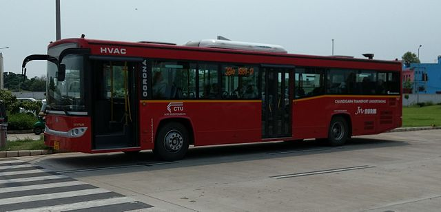 Chandigarh Transport Undertaking [CTU]'s Corona bus on Route 38 at the Mohali terminal of the airport.