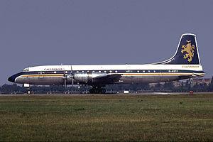 Caledonian Airways - Caledonian Bristol 175 Britannia 314 G-ASTF in the later scheme at Berlin Tegel in October 1967