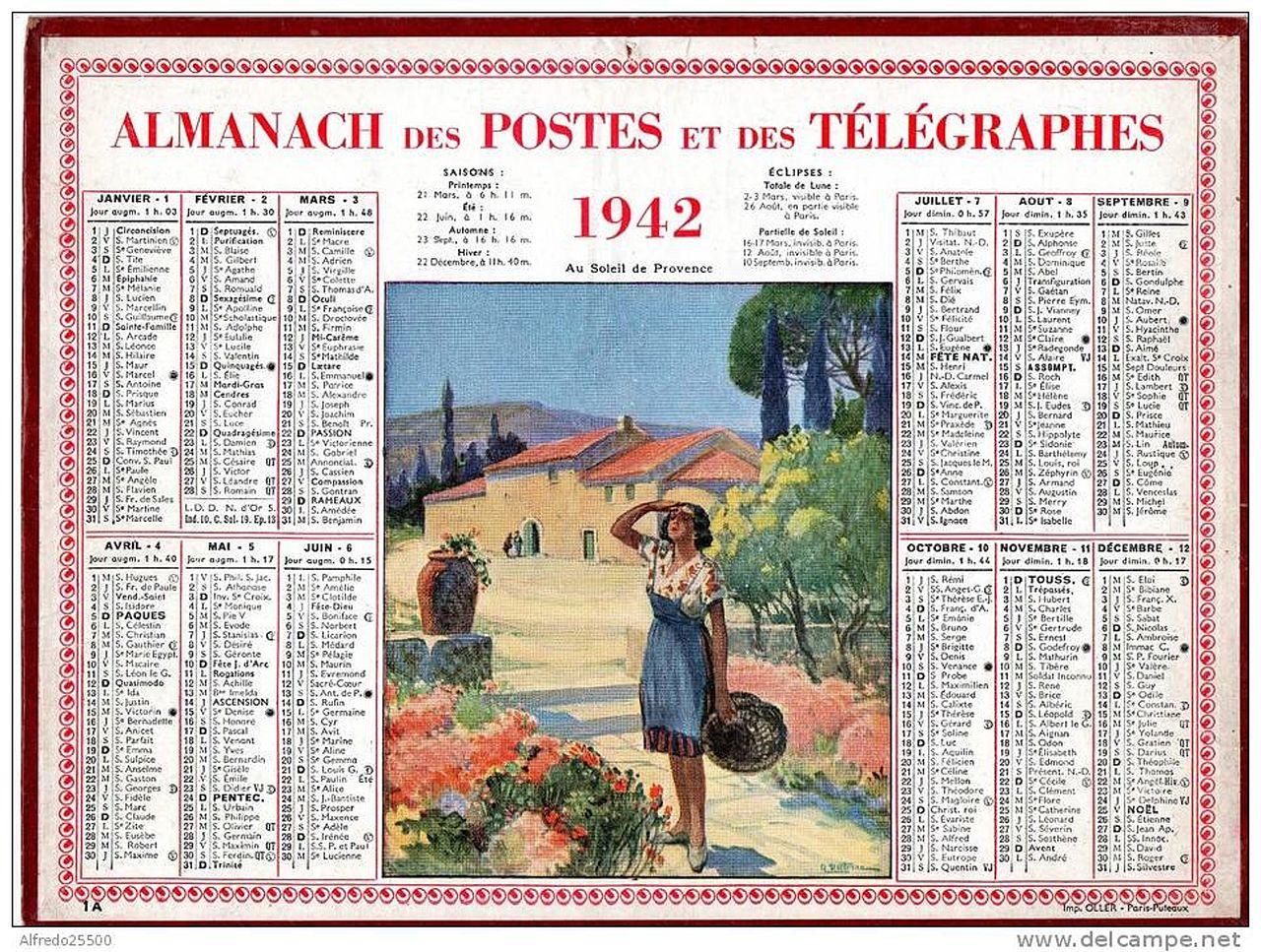 Calendrier Soleil.Fichier Calendrier Des Postes 1942 Au Soleil De Provence Jpg