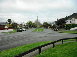 California Drive in Totara Park, built extra wide to keep houses away from the Wellington Fault that runs under it.