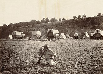Surveying - A railroad surveying party at Russel's Tank, Arizona in the 1860s