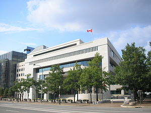 Physical security - Canadian Embassy in Washington, D.C. showing planters being used as vehicle barriers to increase the standoff distance, and barriers and gates along the vehicle entrance
