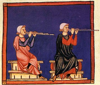 Flute - Panflute players. Cantigas de Santa Maria, mid-13th century, Spain