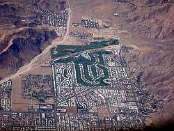 Aerial view of southwest Palm Springs (facing south), with the Canyon Country Club in the center