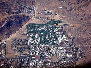 Aerial view of Palm Springs, with the Canyon C...