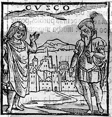 Pierwsza ilustracja przedstawiająca Cuzco. Pedro Cieza de Leon, Cronica del  Peru 1553.