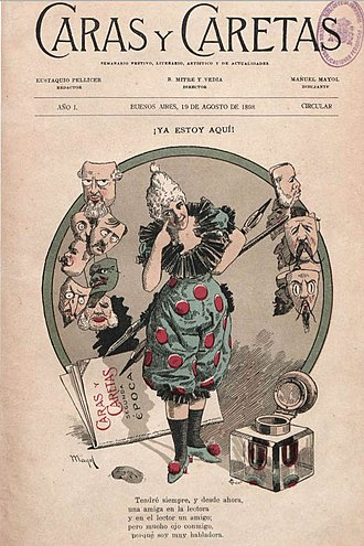 Caras y Caretas (Argentina) - Cover to the n° 1 (1898),   art by Manuel Mayol.