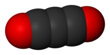 Space-filling model of carbon suboxide