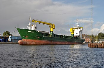 The cargo ship Nephrit of in the habour of (Ea...
