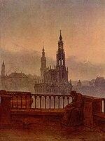 Blick auf Dresden von der Brühlschen Terrasse, um 1830 (Quelle: Wikimedia)