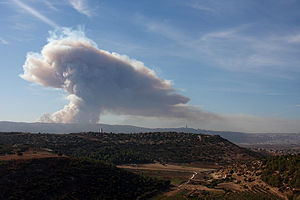 Mount Carmel Forest Fire (2010) - The fire in its early stages (looking west)