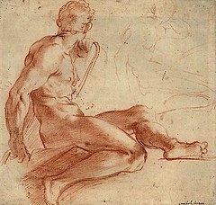 Drawing of a man sitting with crossed legs