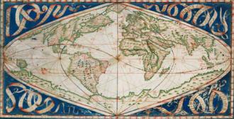 Sinusoidal projection - Jean Cossin, Carte cosmographique ou Universelle description du monde, Dieppe, 1570