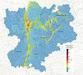Carte des particules fine PM10 modélisée sur la région Rhône-Alpes en 2013, en nombre de jour de dépassement réglementaire.jpg